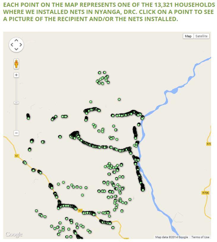 GPS data for net distribution. Courtesy: IMA World Health