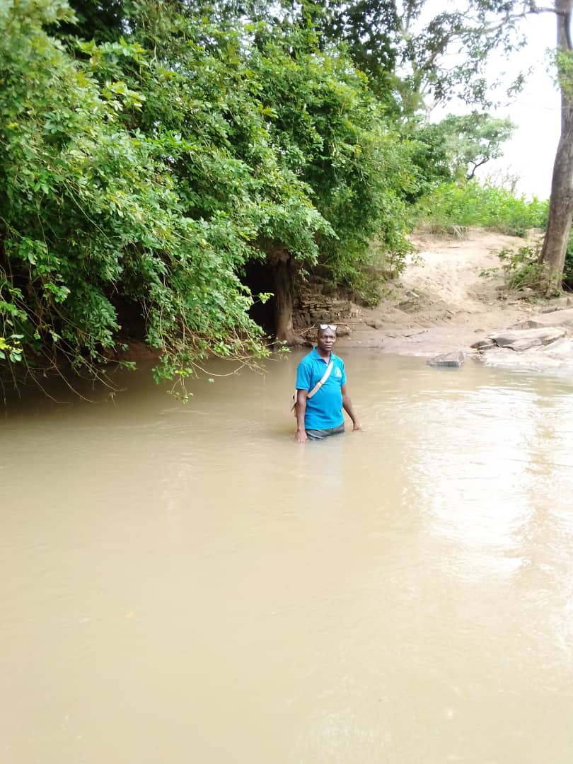 Crossing a river to reach a village